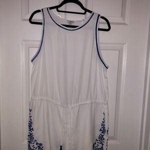 Loft white and blue romper